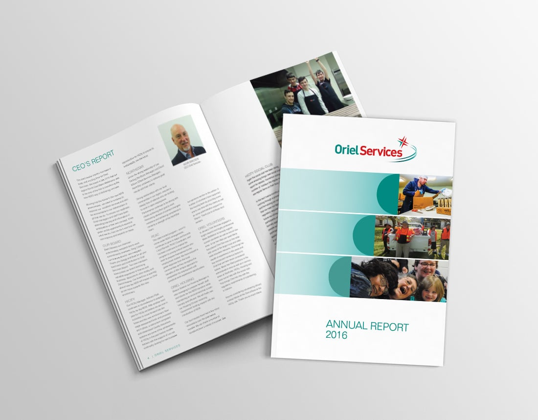 Oriel Services portfolio feature image 1 annual report ikoniko design